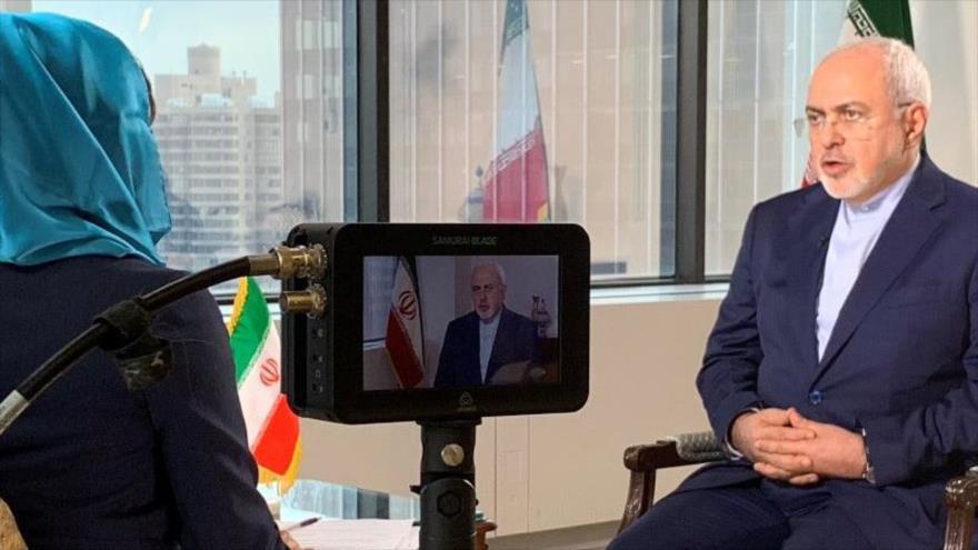 El canciller iraní, Mohamad Javad Zarif, durante una entrevista con la Cadena Global de Televisión de China (CGTN), 1 de octubre de 2018.