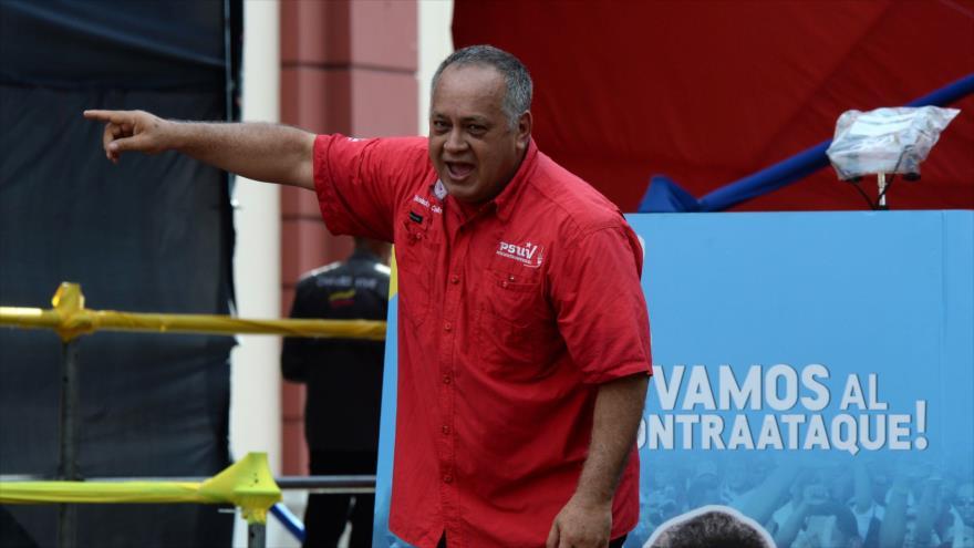 El presidente de la ANC de Venezuela, Diosdado Cabello, habla en un acto en Caracas (capital venezolana), 21 de agosto de 2018. (Foto: AFP)