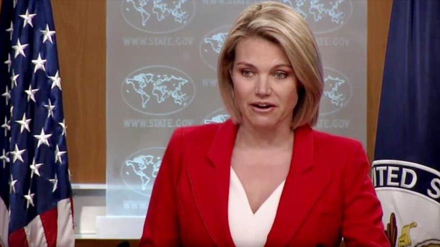 La portavoz del Departamento de Estado de EE.UU., Heather Nauert, ofrece una conferencia de prensa, Washington, 2 de octubre de 2018.