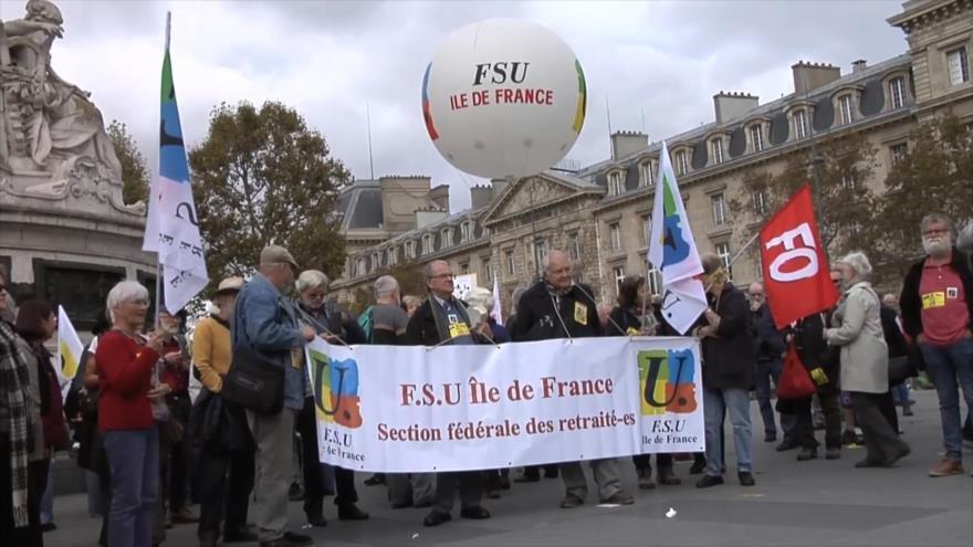 Pensionistas franceses se manifiestan contra política del Gobierno