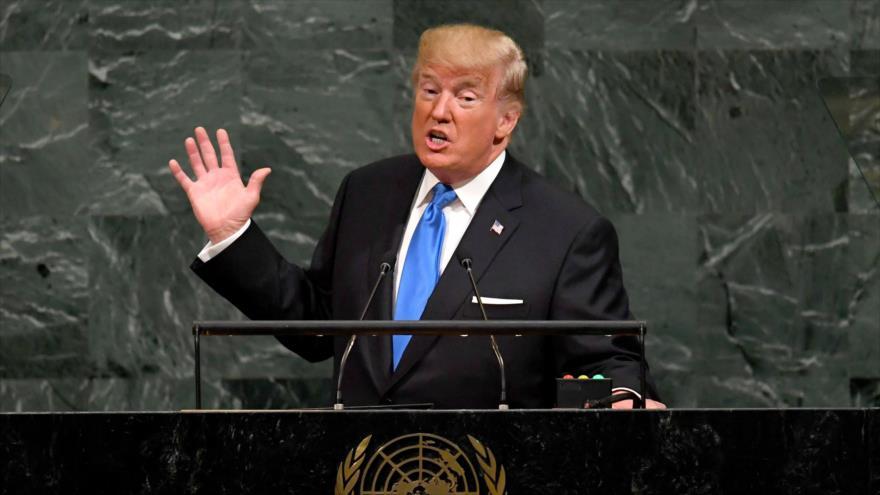 El presidente de EEUU, Donald Trump, ofrece su discurso en la Asamblea General de la ONU, 25 de septiembre de 2018. (Foto: AFP)