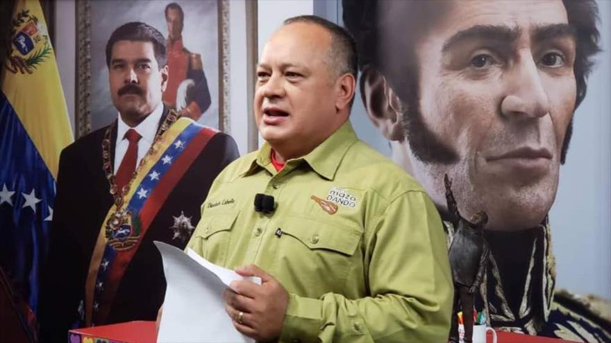 El primer vicepresidente PSUV, Diosdado Cabello, en el programa televisivo Con el Mazo Dando en el estado de Bolívar, 3 de octubre de 2018.
