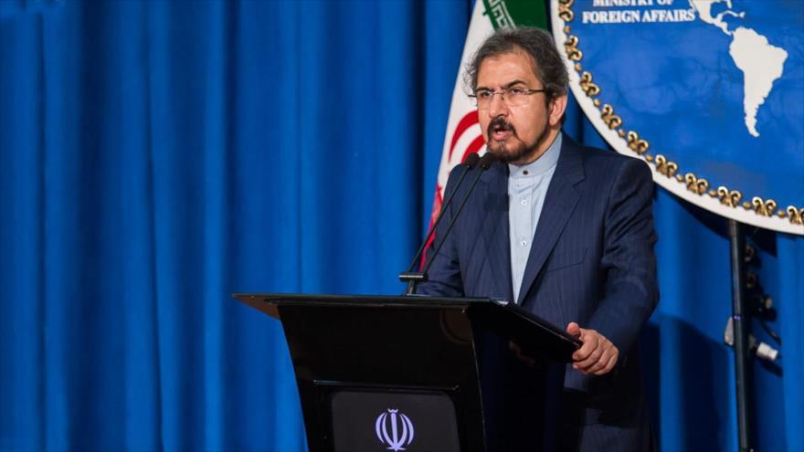 El portavoz de la Cancillería iraní, Bahram Qasemi, asiste a una rueda de prensa semanal en Teherán, la capital persa.
