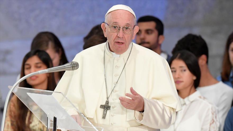 El papa Francisco ofrece un discurso en el Vaticano, 6 de octubre de 218 (Foto: AFP).