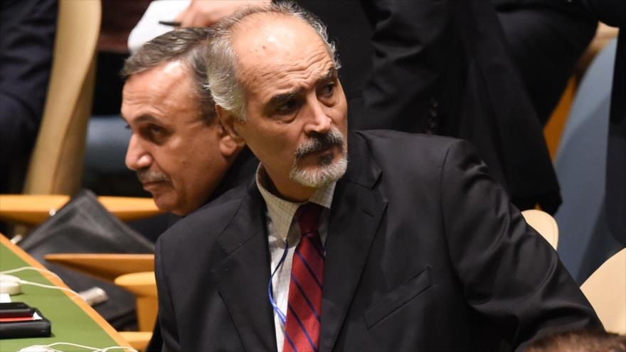 El embajador sirio ante la ONU, Bashar al-Yafari, en una sesión de la Asamblea General en las Naciones Unidas, 25 de septiembre de 2018. (Foto: AFP)