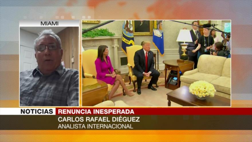 Diéguez: Haley renunció por discordias en política exterior con Trump