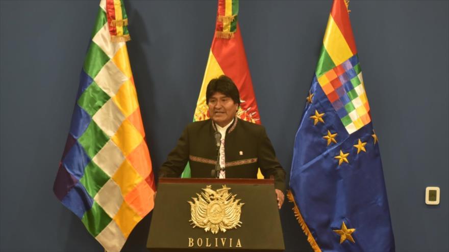 El presidente de Bolivia, Evo Morales, en una comparecencia ante los medios en la sede del Ejecutivo en La Paz, 9 de octubre de 2018. (Foto:ABI)