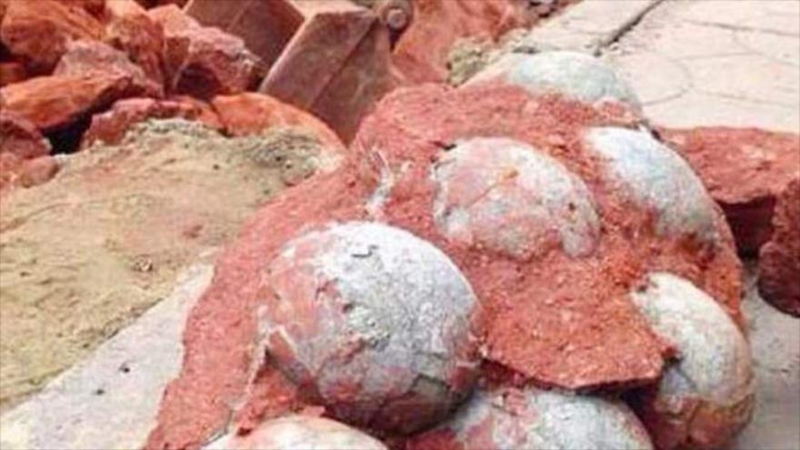 Huevos de dinosaurios de hace provincia oriental china de Zhejiang.