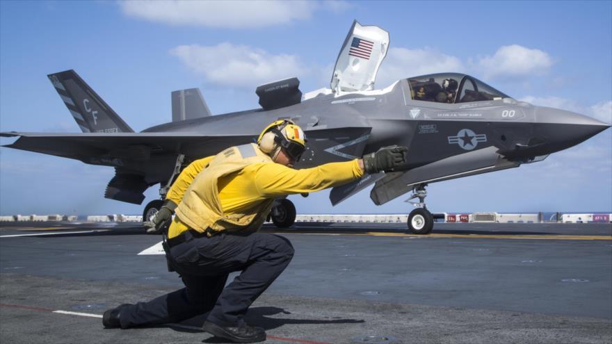 Caza F-35B a bordo del buque USS Essex de la Aramada de EE.UU. 22 de septiembre de 2018 (Foto: AFP)