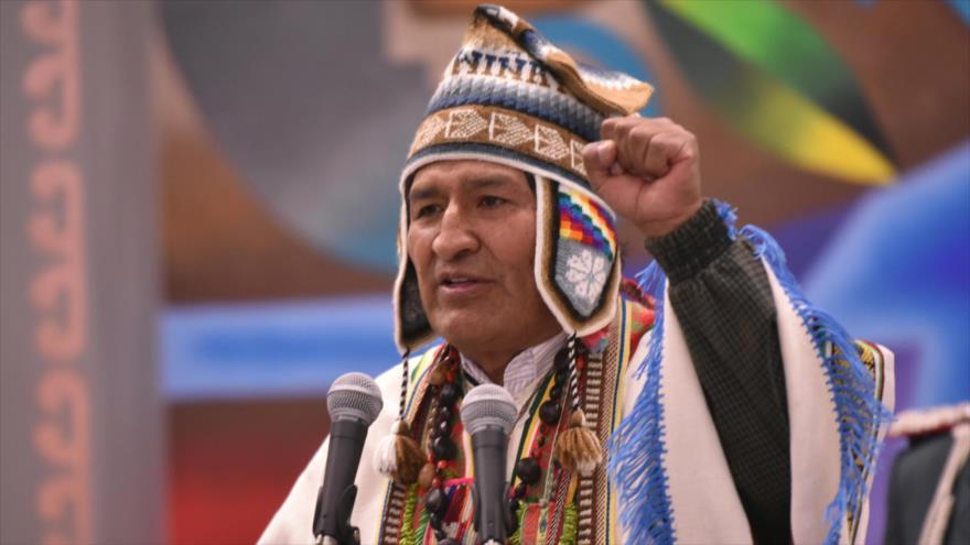 El presidente de Bolivia, Evo Morales, en el Día de la Descolonización en la Casa Grande del Pueblo, La Paz, 12 de octubre de 2018. (Foto: ABI)