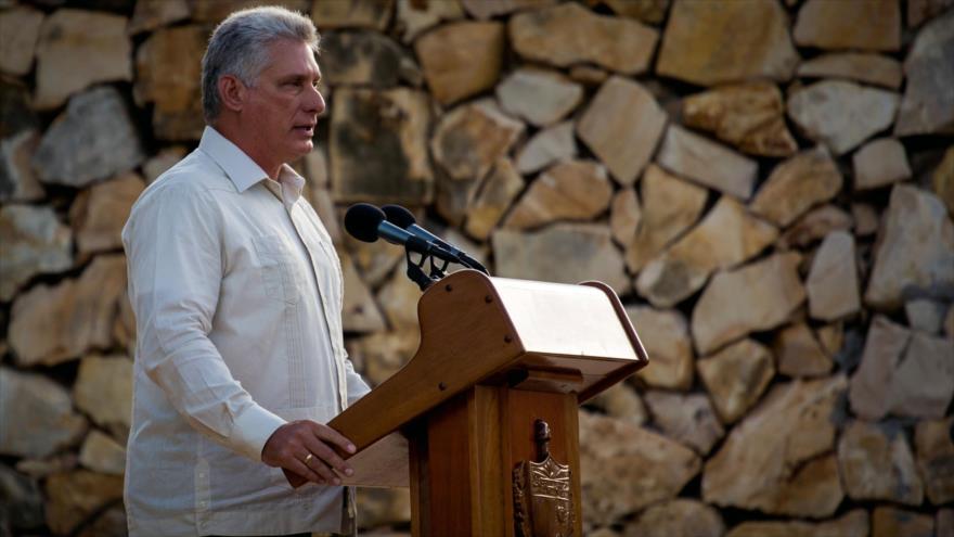 El presidente de Cuba, Miguel Díaz-Canel, en el 150.º aniversario de la primera guerra cubana de independencia, 10 de octubre de 2018. (Foto: AFP)