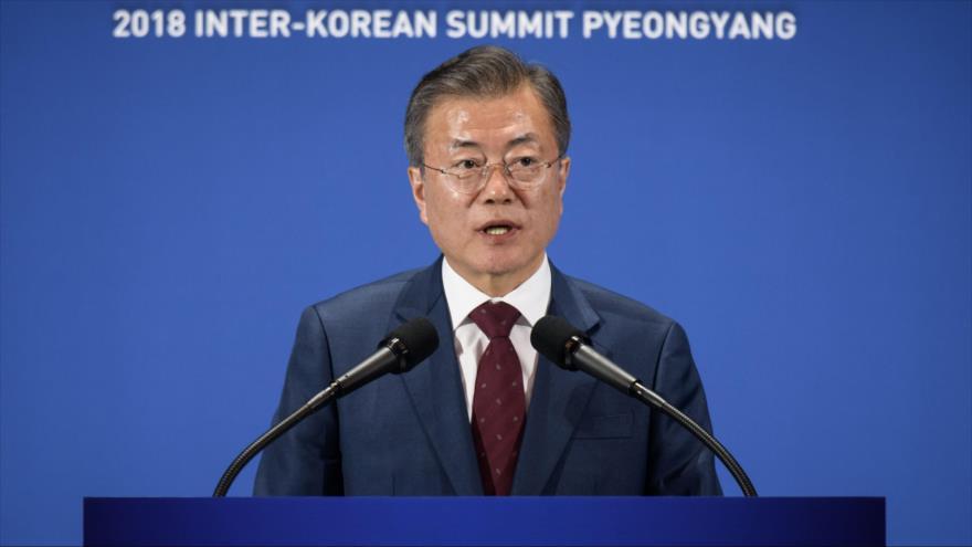 El presidente de Corea del Sur, Moon Jae-in, habla en la cumbre intercoreana en Seúl, 20 de septiembre de 2018. (Fuente: AFP)