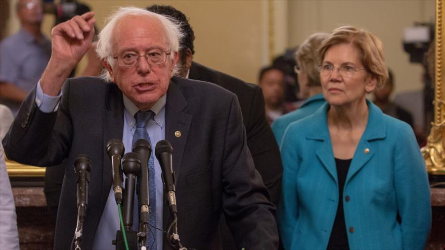 El senador independiente de Vermont, Bernie Sanders, habla en una conferencia de prensa, 24 de julio de 2018. (Foto: AFP).
