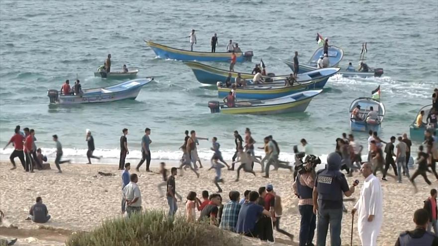 No cesan las marchas marítimas palestinas contra ocupación israelí