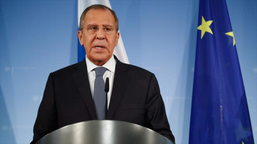 El canciller ruso, Serguéi Lavrov, habla en una rueda de prensa en Berlín (capital alemana), 14 de septiembre de 2018. (Foto: AFP)