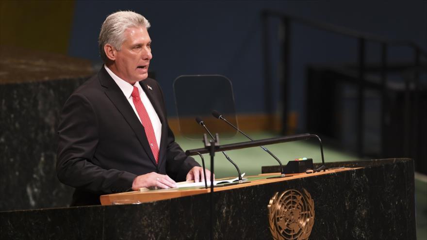El presidente de Cuba, Miguel Díaz-Canel, habla ante las Naciones Unidas, 24 de septiembre de 2018.