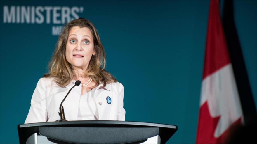 La ministra de Exteriores canadiense, Chrystia Freeland, en un encuentro de Ministras de Exteriores en Montreal, 22 de septiembre de 2018. (Foto: AFP)