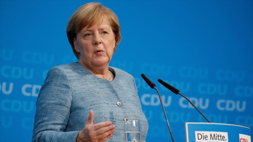 La canciller de Alemania, Angela Merkel, en una conferencia de prensa, 21 de octubre de 2018. (Foto: AFP).