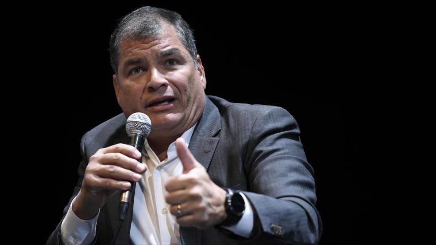 Expresidente de Ecuador Rafael Correa, en un encuentro en Bruselas, Bélgica, 22 de octubre de 2018. (Foto: AFP)