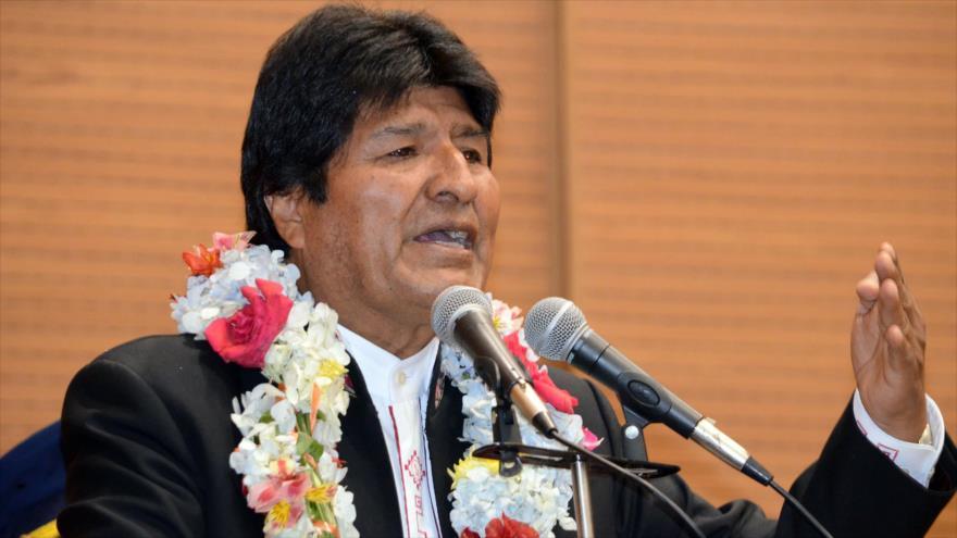 El presidente de Bolivia, Evo Morales, habla durante un acto en la Casa Grande del Pueblo, 25 de octubre de 2018.