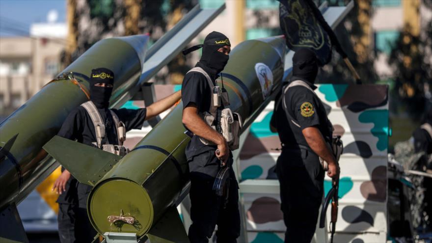 Miembros del movimiento Yihad Islámica Palestina, en un desfile militar en Gaza, 4 de octubre de 2018. (Foto: AFP)