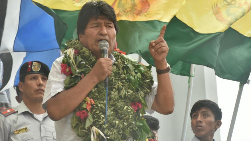 El presidente de Bolivia, Evo Morales, habla durante un acto en el municipio de La Paz, 26 de octubre de 2018.