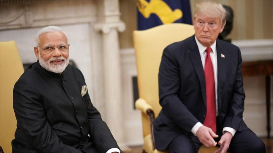El primer ministro indio, Narendra Modi (izda.), reunido con el presidente de EE.UU., Donald Trump, en Washington, 26 de junio de 2017. (Foto:AFP)