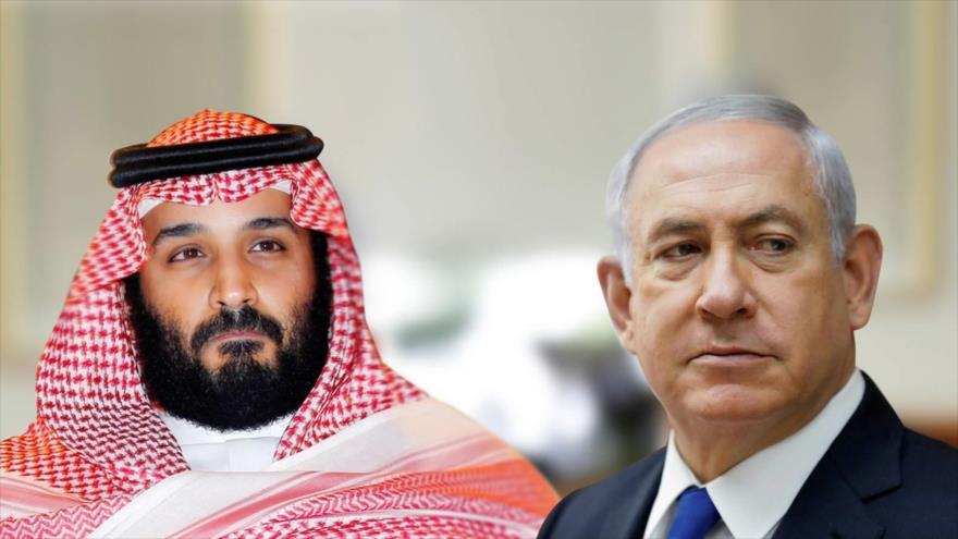 El primer ministro de Israel, Benjamín Netanyahu (dcha), y el príncipe heredero saudí, Muhamad bin Salman al Saud.