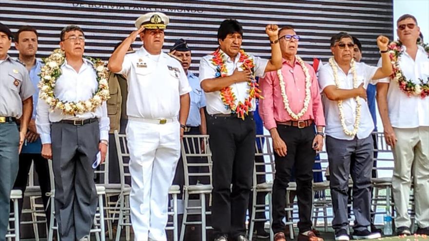 El presidente de Bolivia, Evo Morales, en un acto público, 30 de octubre de 2018. (Fuente: ABI)
