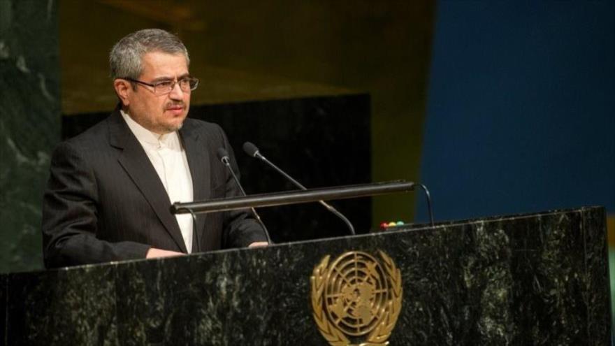 El embajador de Irán ante las Naciones Unidas (ONU), Qolamali Joshru, ofrece discurso en el organismo internacional.