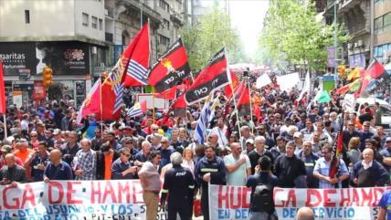 Paro parcial de obreros en apoyo a trabajadores del gas en Uruguay