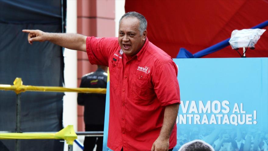 El presidente de la Asamblea Nacional Constituyente (ANC), Diosdado Cabello, durante un mitin en Caracas, 21 de agosto de 2018. (Foto: AFP).