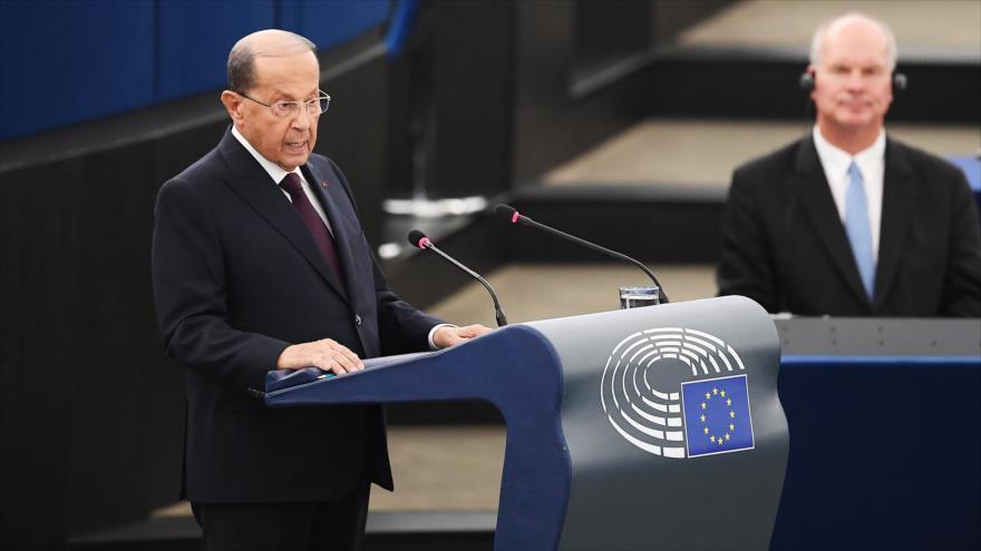 El presidente de El Líbano, Michel Aoun, ofrece un discurso en Francia, 11 de septiembre de 2018. (Foto: AFP)
