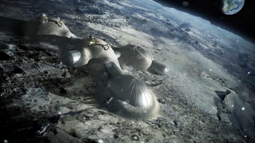 Una impresión muestra una base lunar que se está construyendo en la Luna en base a la impresión 3D, 22 de septiembre de 2017. (Foto: AFP)