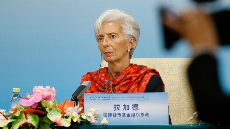 Directora gerente del FMI, ChristineLagarde, habla con la prensa en Pekín, la capital china, 6 de noviembre de 2018. (Foto: AFP)