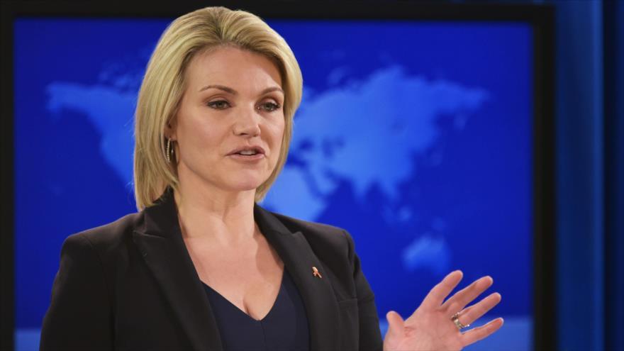 La portavoz del Departamento de Estado de EE.UU., Heather Nauert, en una rueda de prensa en Washington. 1 de noviembre de 2018. (Foto: AFP)