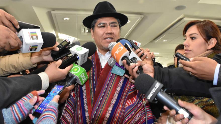 El canciller de Bolivia, Diego Pary, durante una rueda de prensa en La Paz, 4 de septiembre de 2018. (Foto: AFP)