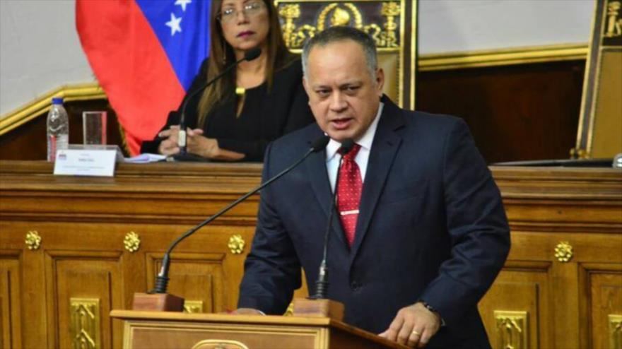 El presidente de la Asamblea Nacional Constituyente de Venezuela (ANC), Diosdado Cabello, habla en una sesión del organismo.