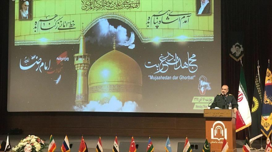 El subcomandante de CGRI de Irán, el general de brigada Hosein Salami, en una conferencia en la ciudad de Damqan, 8 de noviembre de 2018. (Fuente: FARS).