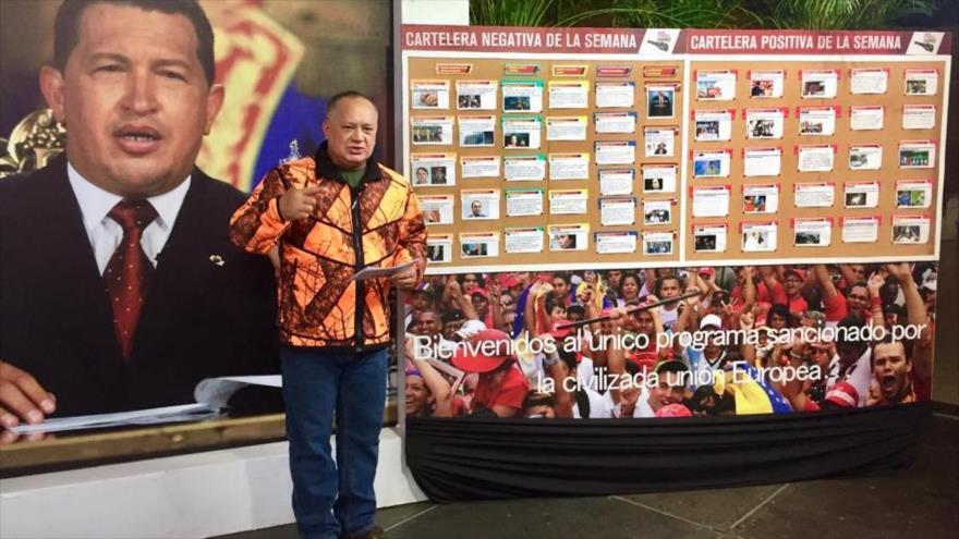 """El presidente constituyente venezolano, Diosdado Cabello, durante su programa semanal """"Con el Mazo Dando"""", 7 de noviembre de 2018."""