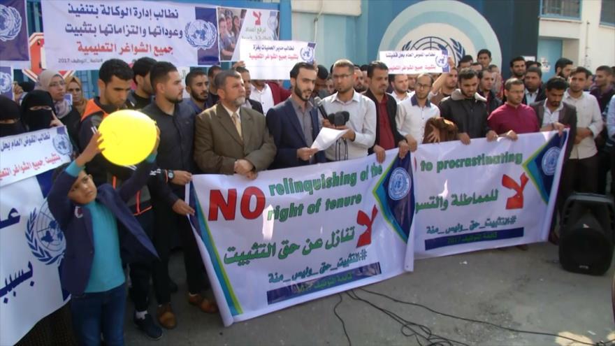Huelga de los profesores de la UNRWA en Franja de Gaza