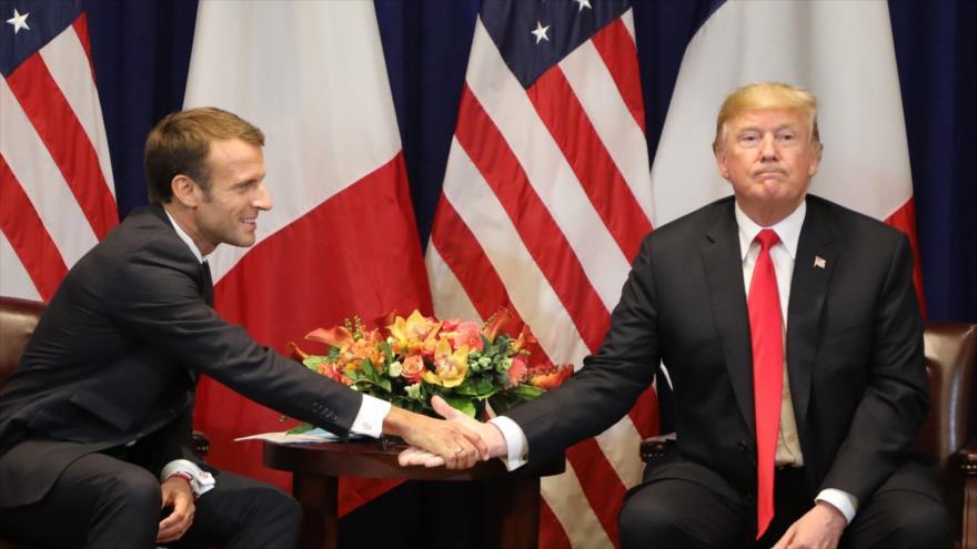 El presidente de Francia, Emmanuel Macron, y su par de EE.UU., Donald Trump, en Nueva York, 18 de septiembre de 2017.