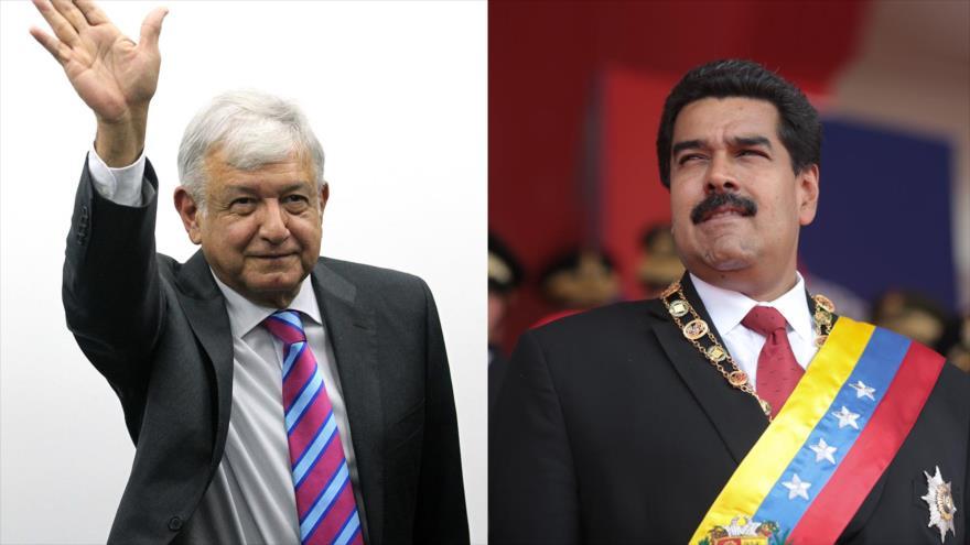 El presidente electo de México, Andrés Manuel López Obrador (izda.) y el presidente de Venezuela, Nicolás Maduro.