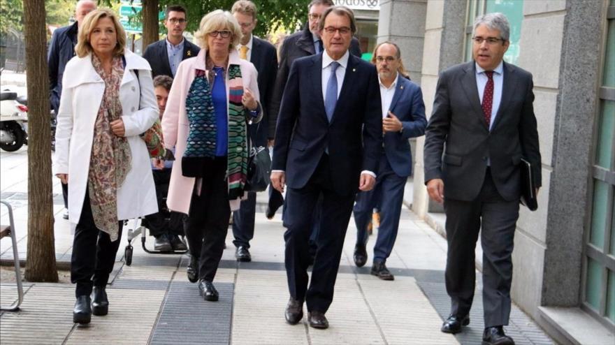 Mas, Ortega, Rigau y Homs, llegando al Tribunal de Cuentas en una imagen de archivo.