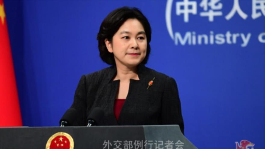La portavoz del Ministerio de Exteriores de China, Hua Chunying, durante una conferencia de prensa