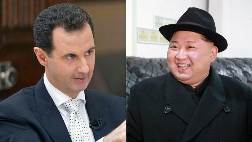El presidente de Siria, Bashar al-Asad (izda.), y el líder norcoreano, Kim Jong-un.