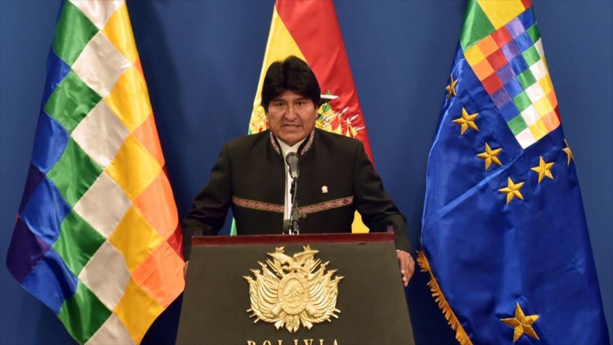 El presidente de Bolivia, Evo Morales, durante una conferencia de prensa en La Paz (la capital de Bolivia), 9 de octubre de 2018, (Foto: AFP)