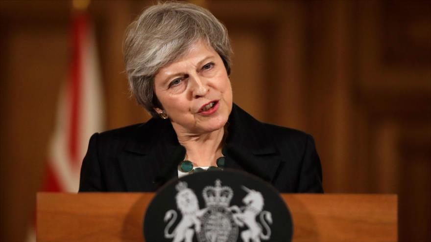 La primera ministra británica, Theresa May, habla durante una conferencia, Londres, 15 de noviembre de 2018. (Foto: AFP)