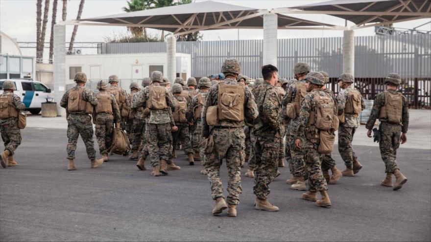 Fuerzas estadounidenses desplegados en la frontera México-EE.UU. California, 15 de noviembre de 2018.(Foto: AFP)