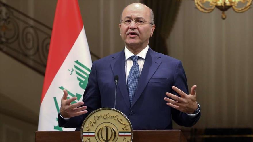 El presidente de Irak, Barham Salih, habla en una rueda de prensa en Teherán, la capital persa, 17 de noviembre de 2018. (Foto: IRNA)
